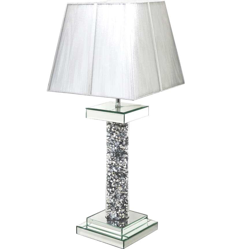 ^Diamond Crush Crystal Pillar Mirrored Lamp with shade in stock