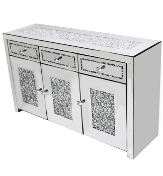 *Diamond Crush Sparkle Crystal Mirrored 3 draw 3 Door Sideboard with crystal Top in stock - special offer