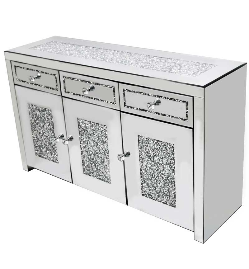 *Diamond Crush Sparkle Crystal Mirrored 3 draw 3 Door Sideboard with crysta
