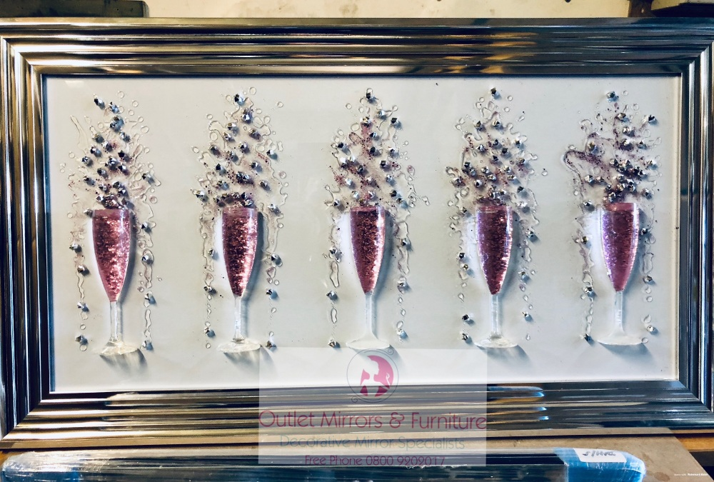 3D Champagne flutes Pink wall art on a white background silver chrome stepp