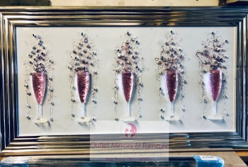 3D Champagne flutes Pink wall art on a white background silver chrome stepped frame
