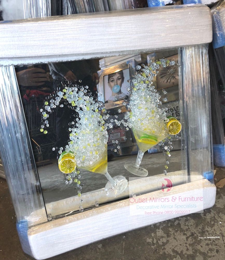 3D Lemon Martini's wall art on a mirror background and mirrored frame