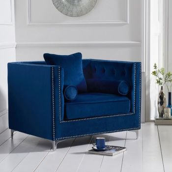 New England Velvet Button Studded Armchair in Royal Blue