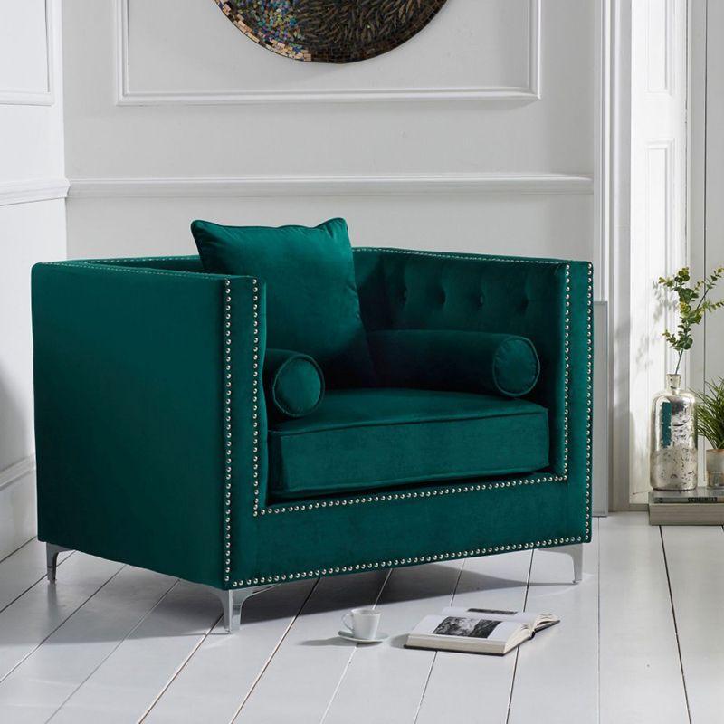 New England Velvet Button Studded Armchair in Green