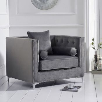 New England Velvet Button Studded Armchair in Grey