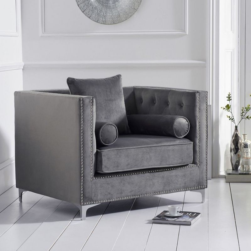 New England Velvet Button Studded Armchair in Grey