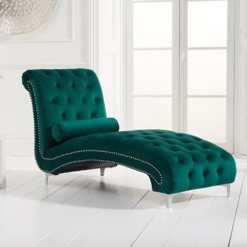New England Velvet Button Studded Chaise in Green