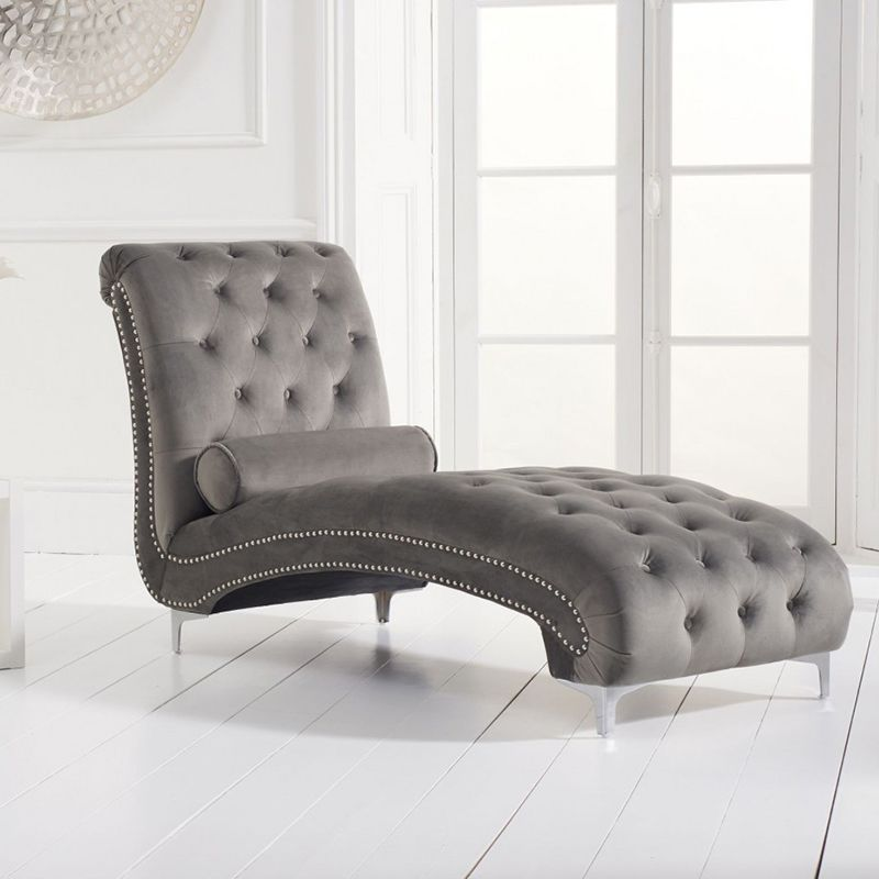 New England Velvet Button Studded Chaise in Grey