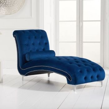 New England Velvet Button Studded Chaise in Royal Blue