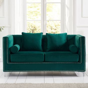 New England Velvet Button Studded 2 Seater Sofa in Green
