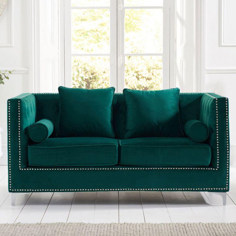 New England Velvet Button Studded 2 Seater Sofa in Green