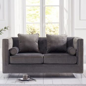 New England Velvet Button Studded 2 Seater Sofa in Grey
