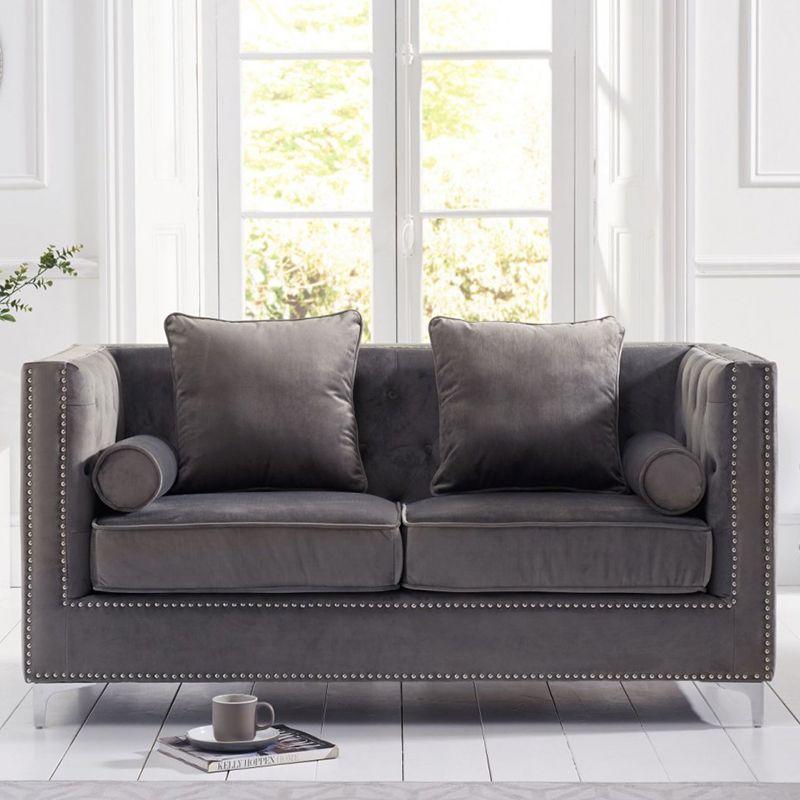 New England Velvet Button Studded 2 Seater Sofa in Grey