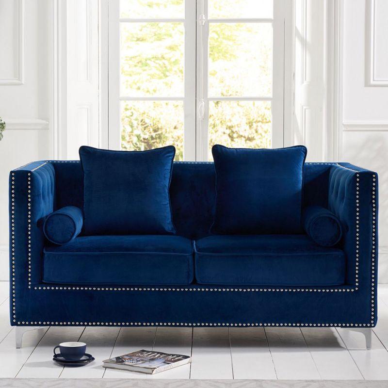 New England Velvet Button Studded 2 Seater Sofa in Royal Blue