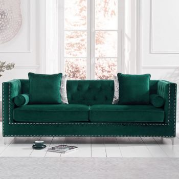 New England Velvet Button Studded 4 Seater Sofa in Green