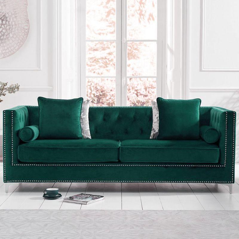 New England Velvet Button Studded 4 Seater Sofa in Green