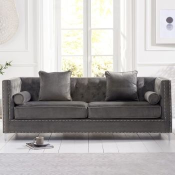 New England Velvet Button Studded 4 Seater Sofa in Grey