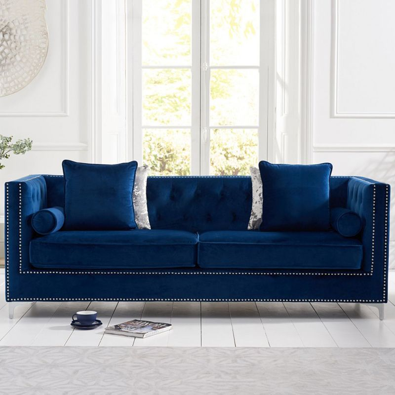 New England Velvet Button Studded 4 Seater Sofa in Royal Blue