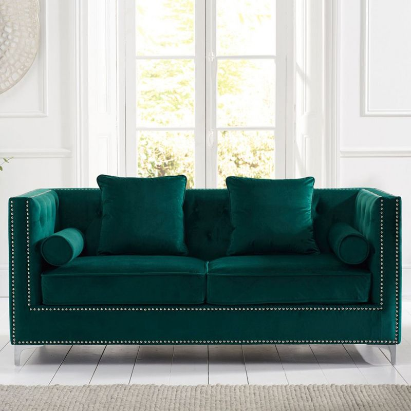 New England Velvet Button Studded 3 Seater Sofa in Green