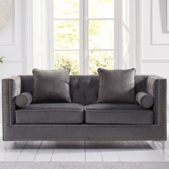 New England Velvet Button Studded 3 Seater Sofa in Grey