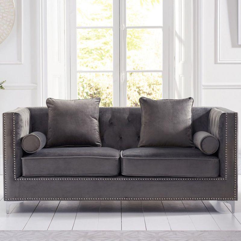 New England Velvet Button Studded 3 Seater Sofa in Grey