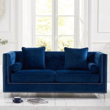 New England Velvet Button Studded 3 Seater Sofa in Royal Blue
