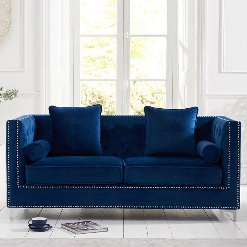 New England Velvet Button Studded 3 Seater Sofa in Royal Blue