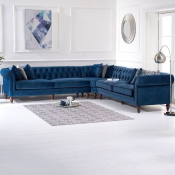 Lauren Velvet Chesterfield Corner Group Sofa in Royal Blue