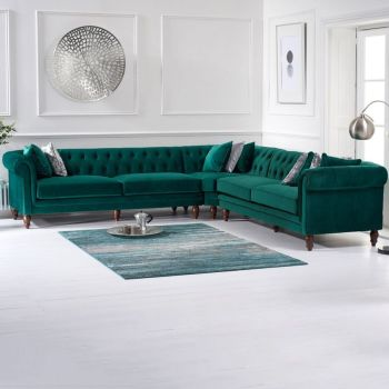 Lauren Velvet Chesterfield Corner Group Sofa in Green