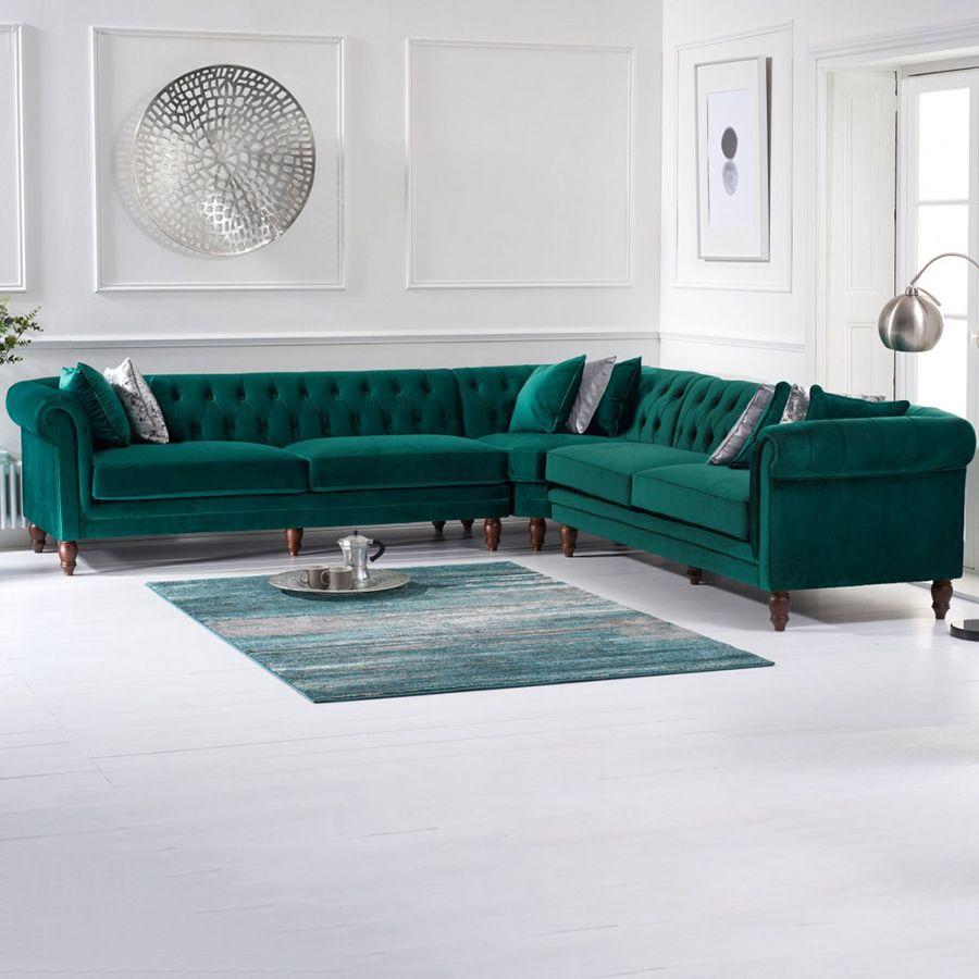 Lauren Velvet Chesterfield Corner Group Sofa in Green