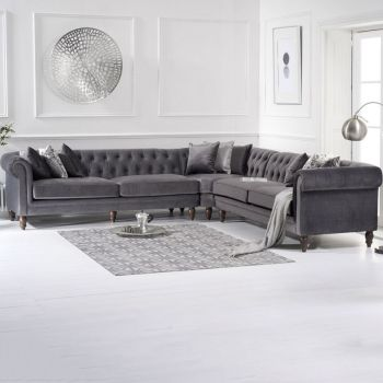 Lauren Velvet Chesterfield Corner Group Sofa in Grey