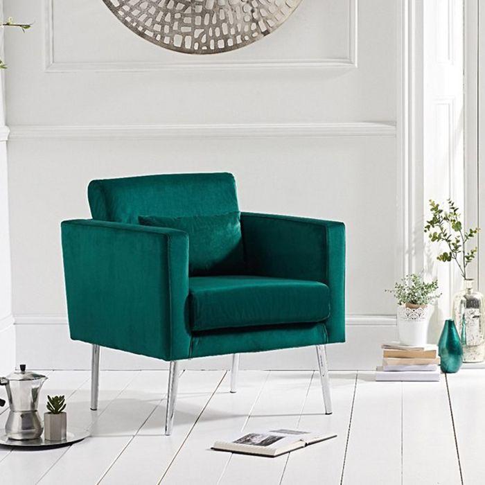 jeniffer Velvet & Chrome Feature Chair In Green