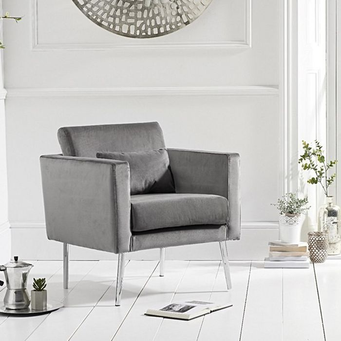 jeniffer Velvet & Chrome Feature Chair In Grey