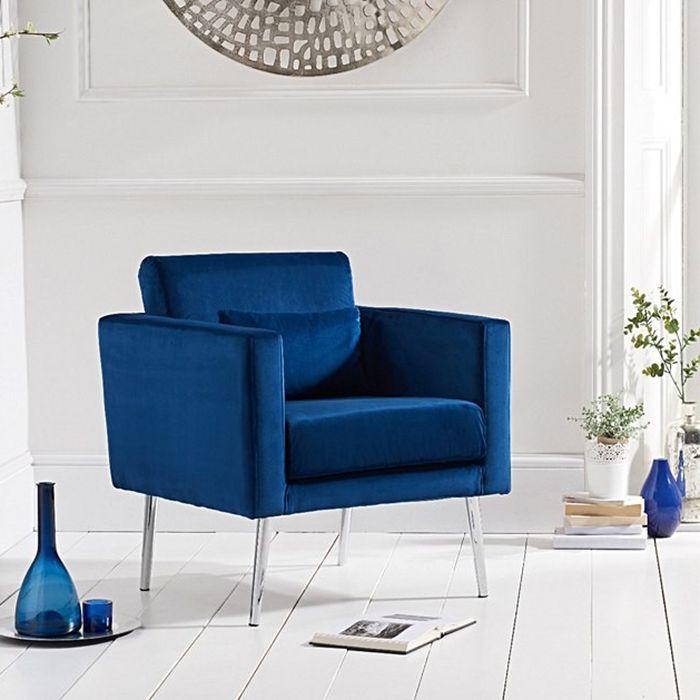 jeniffer Velvet & Chrome Feature Chair In Royal Blue
