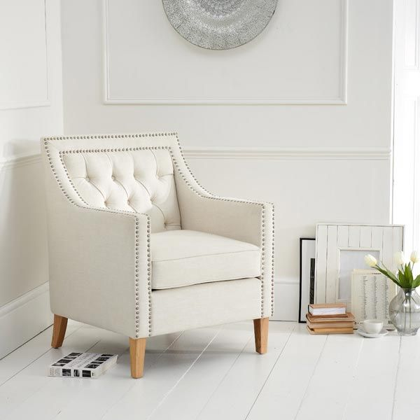 Casa Bella Fabric Studded Buttoned Armchair in Ivory