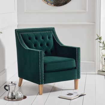 Casa Bella Fabric Studded Buttoned Armchair in Green Velvet