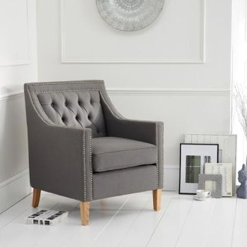 Casa Bella Fabric Studded Buttoned Armchair in Grey