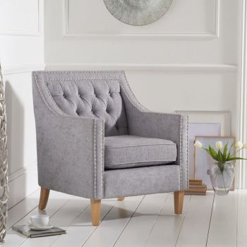 Casa Bella Fabric Studded Buttoned Armchair in Light Grey
