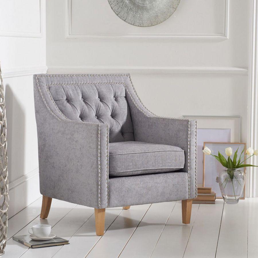Casa Bella Fabric Studded Buttoned Armchair in Light Grey