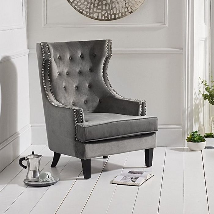 Portia Wing Back Buttoned Studded Armchair in Grey Velvet