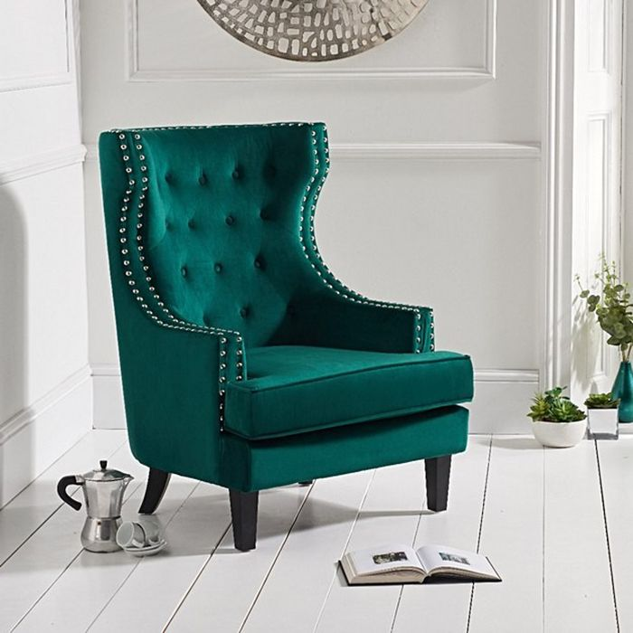 Portia Wing Back Buttoned Studded Armchair in Green