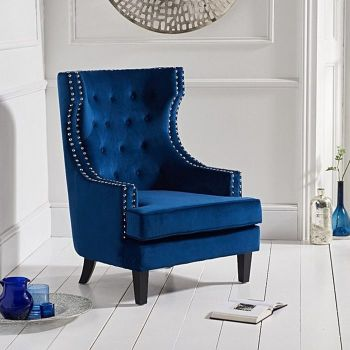 Portia Wing Back Buttoned Studded Armchair in Royal Blue