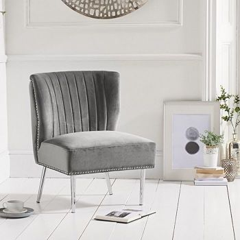 Lara Studded Feature Chair in Grey Velvet