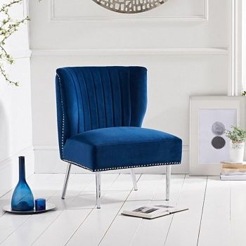 Lara Studded Feature Chair in Royal Blue Velvet