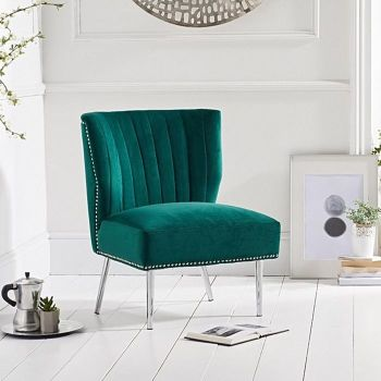 Lara Studded Feature Chair in Green Velvet