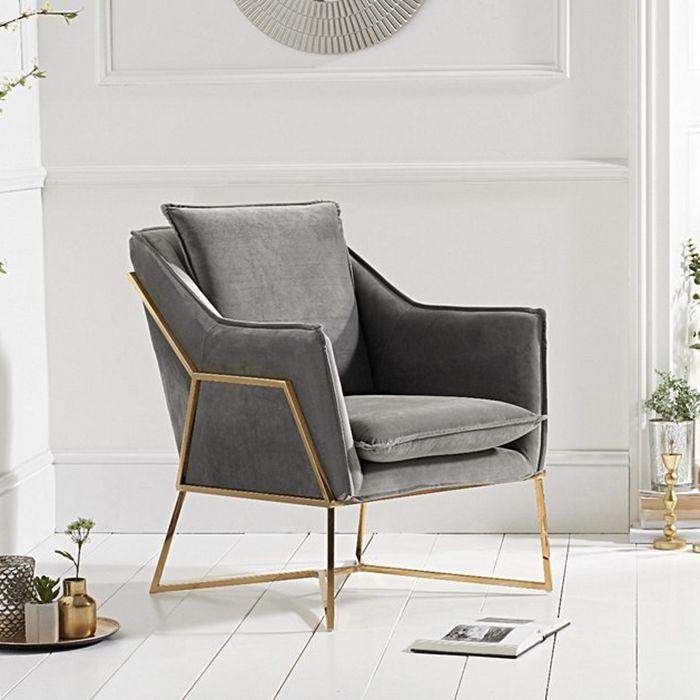 Larna Grey Velvet & Gold Feature Chair