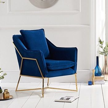 Larna Blue Velvet & Gold Feature Chair