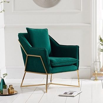 Larna Green Velvet & Gold Feature Chair