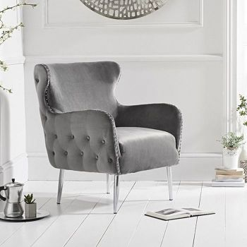 Bina Velvet Button Studded Armchair in Grey