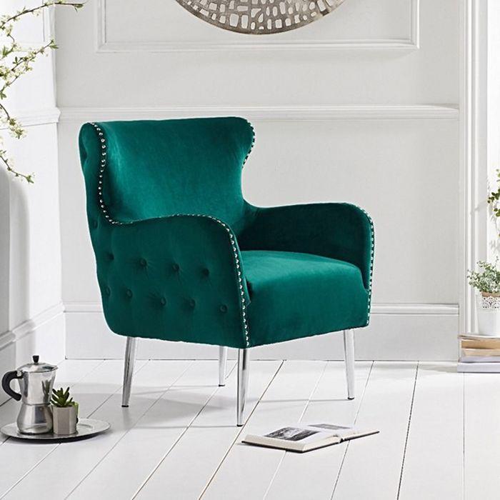 Bina Velvet Button Studded Armchair in Green